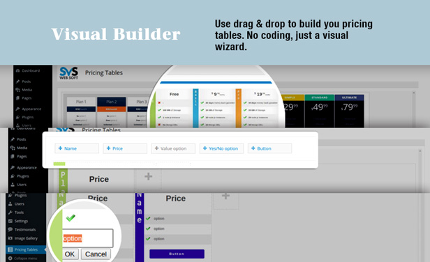 Svs pricing tables wordpress plugin for Builders unlimited